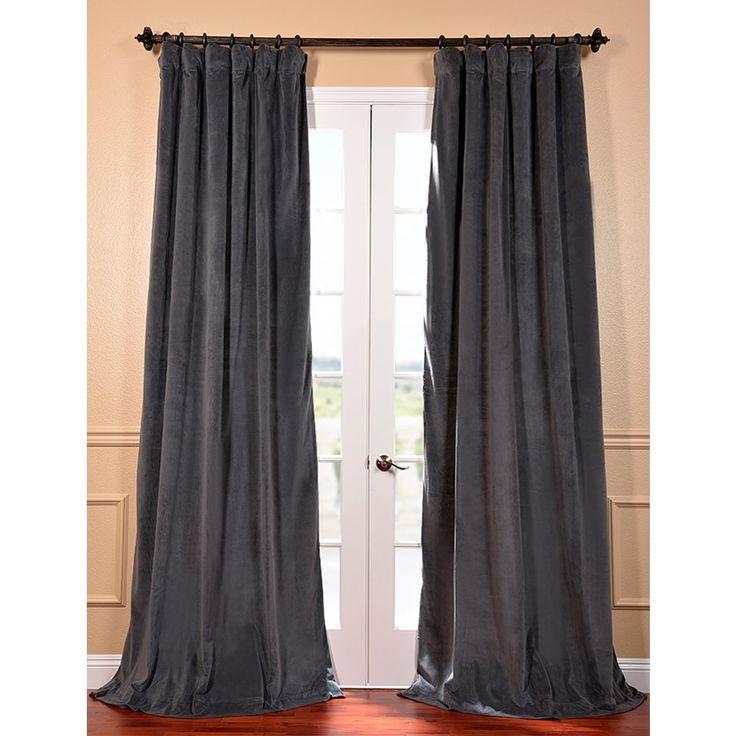 Natural Grey 108 Inch Velvet Blackout Curtain Panel