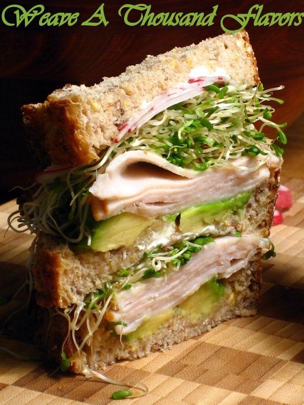 ... loaf turkey avocado alfalfa sprouts radish goat cheese sandwich