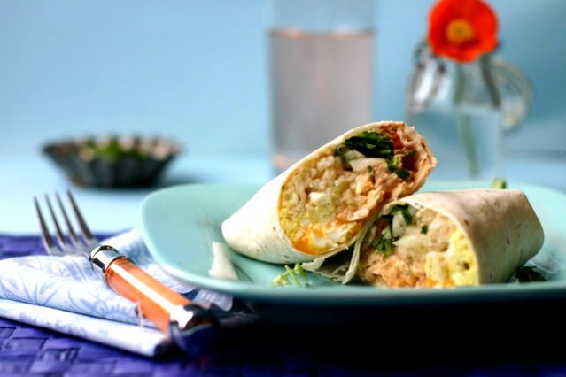 grilled chicken amp brown rice breakfast burrito with chipotle sour ...