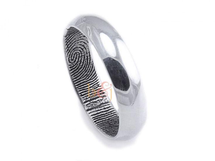 $295 Traditional Sterling Silv... Brent & Jess Fingerprint Wedding Rings Custom Handmade Fingerprint Jewelry