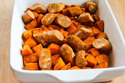 Spicy Roasted Sweet Potatoes and Chicken-Garlic Sausage | Recipe