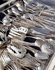 Silver, every kitchen needs it, why not antique?I love combining patterns sometimes.