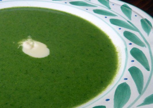 Spring Pea Soup With Chive Oil And Creme Fraiche Recipe — Dishmaps