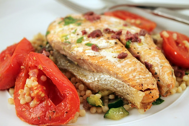 Salmon with Slow Roasted Tomatoes and Vegetable Israeli Couscous
