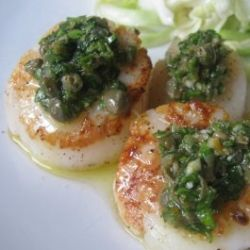 Seared Scallops with Salsa Verde. Um, YUM.
