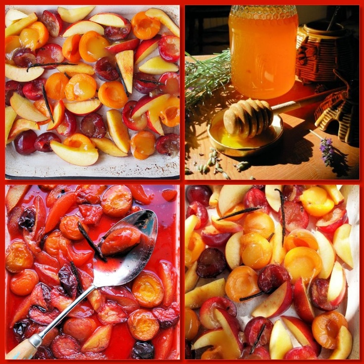 Oven Roasted Stone Fruits with Lavender Honey and Vanilla