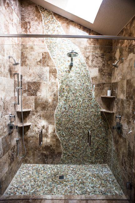 Waterfall shower the lei dreamhouse pinterest for Waterfall tile design
