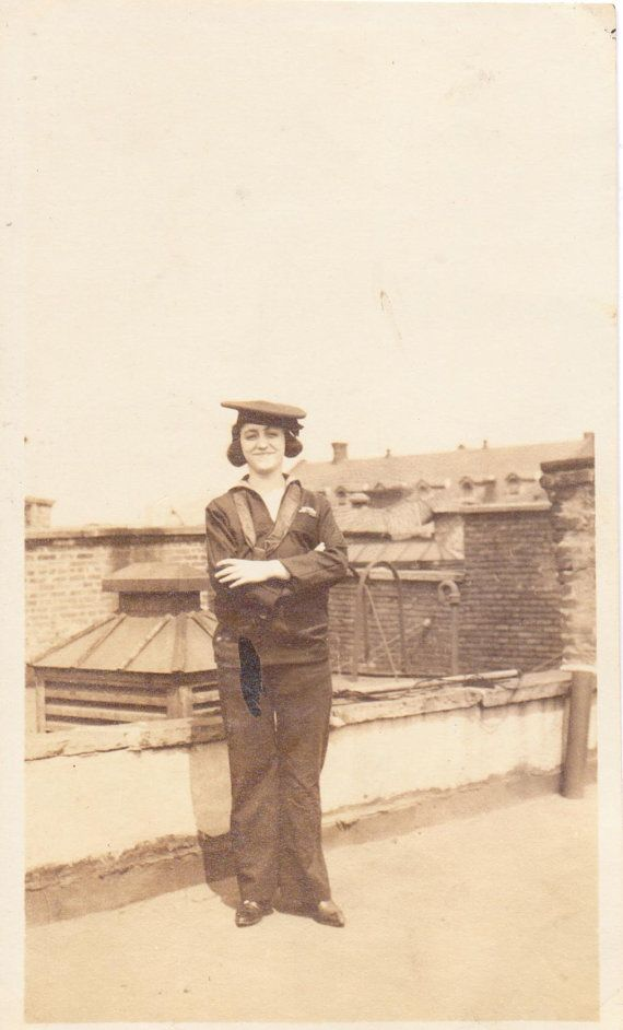 Vintage Photo of Woman on New York Rooftop in Navy Uniform -- Aug 1919 ...