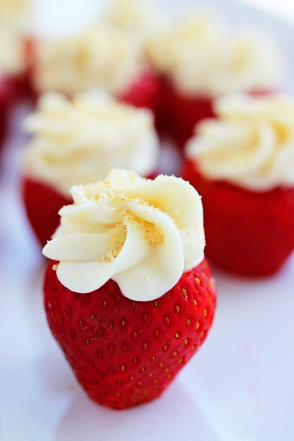 Cheesecake stuffed strawberries. - Dinner Party Menu Photo Sites