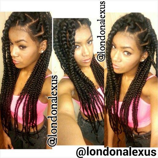 box braids styled in jumbo side braid more braids hairstyles box