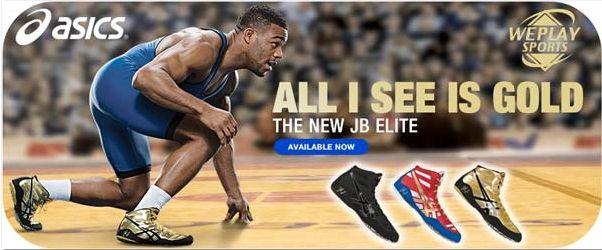Wrestling Shoes ASICS Jordan Burroughs JB Elite Black/Onyx/Oly Gold by