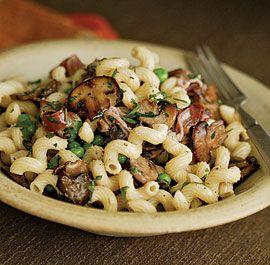 Pasta with Mushrooms, Peas, Prosciutto & Sour Cream | Recipe