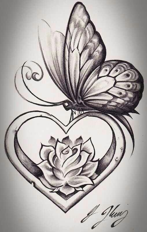 Butterfly lotus heart tattoos i love pinterest for Lotus flower and butterfly tattoo designs