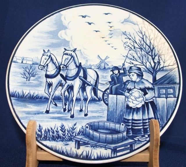 Small Vintage Blue White Delft Plate Autumn Fall Horses