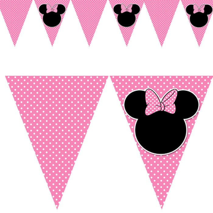 Printable Minnie Mouse Inspired Birthday Party Flag Banner Pink Black White Baby Shower Digital 1st 2nd 3rd. $4.99, via Etsy.