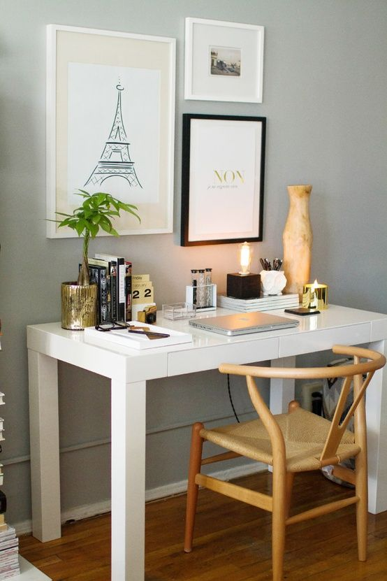 The Decorista-Domestic Bliss: office space of the day...Everygirl loves Paris. White Parsons Desk, West Elm, Desk Vignette, Office Vignette, Gray walls, gray paint on walls