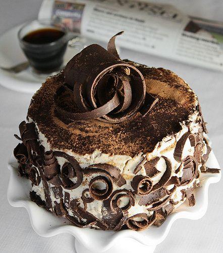 Swirling shaved chocolate cake ... . ? Chocolate ...