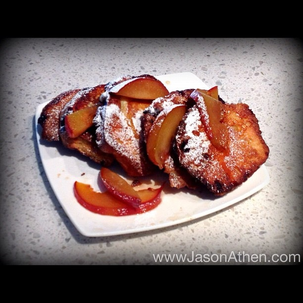 Blueberry Muffin French Toast with Glazed Peach's in Maple Syrup ...