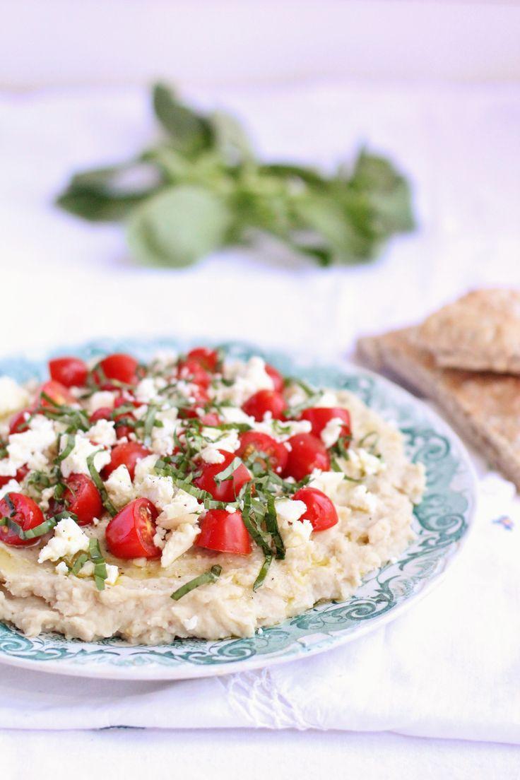 ... /white-bean-dip-with-cherry-tomatoes-feta-basil/ #healthy #dips