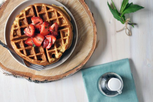 Cardamom and Nutmeg Waffles with Minted Strawberries from @Kasey ...