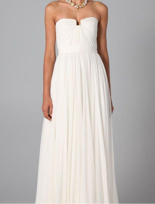Simple Wedding Dress Accessories : Simple summer hot white chiffon strapless neckline