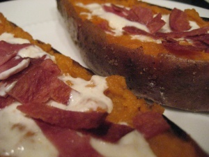 Loaded Sweet Potato Skins with bacon | Bacon lovers | Pinterest