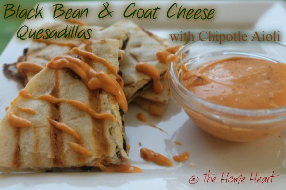 black bean and goat cheese quesadilla with chipotle