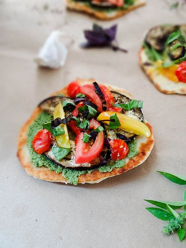 za'atar crusted eggplant, tomato & basil naan flat bread's