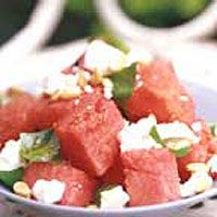 Watermelon, feta and basil salad = amazing for summer BBQ's #summer #food #salad #eat #watermelon Full recipe available at http://www.waitrose.com/home/recipes/recipe_directory/f/feta_and_watermelon_salad.html
