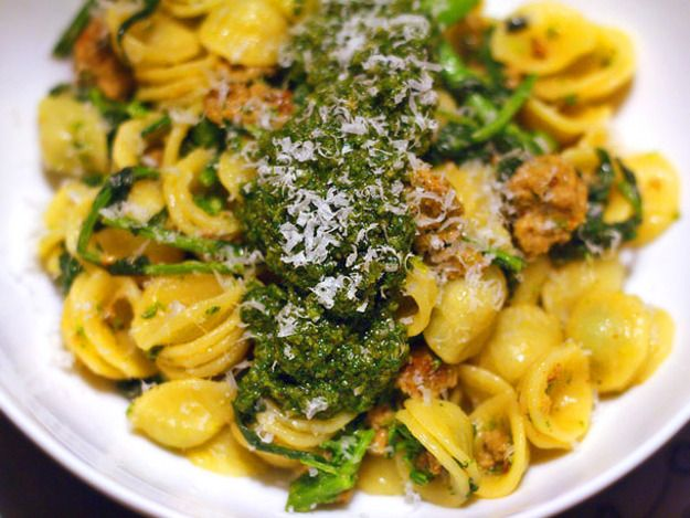 Orecchiette With Broccoli Rabe, Spicy Italian Sausage, and Pesto | Re ...