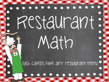 Restaurant Math Task Cards
