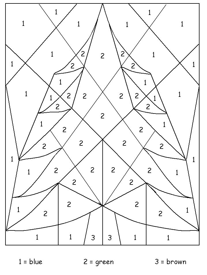 Colour By Number Christmas Tree : Tree color by number coloring pages