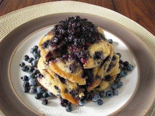 Blueberry Cornmeal Pancakes #breakfast #pancakes #healthybaking #fruit ...