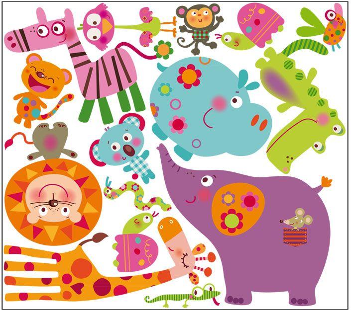 Vinilo decorativo infantil | animales selva