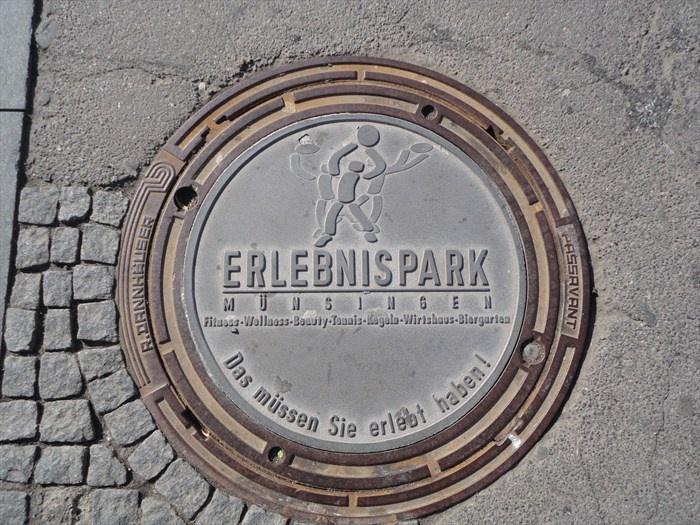 This is a beautiful unique manhole cover located at the Marktplatz ...