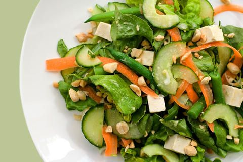with miso-ginger vinaigrette // tofu, cucumbers, carrots, green beans ...