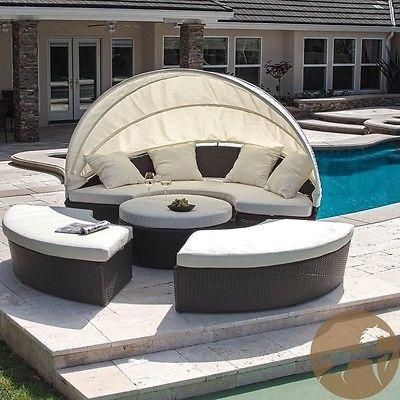 Patio Furniture Set Outdoor Living Deck 4pc Cabana Canopy