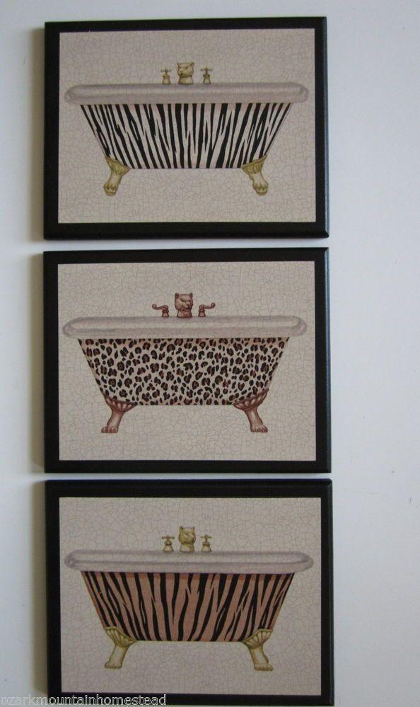 Leopard Tiger Zebra Bathtub Wall Decor Plaques Bath Pictures Bathroom