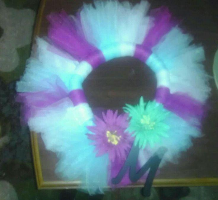 Diy tulle wreath spring colors leila bd 1st birthday pinterest
