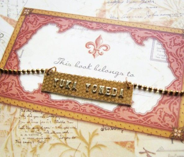 Credit card name plate necklace