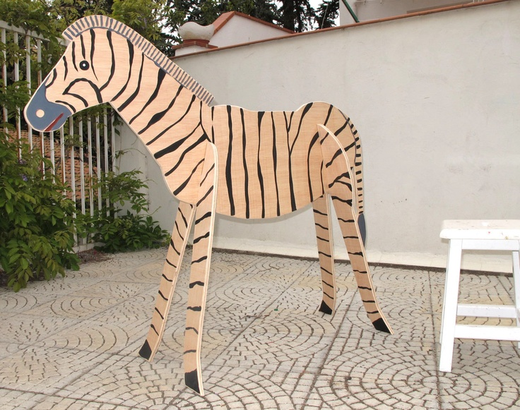 Zebra. Wood sculpture, indoor or outdoor.. $195.00, via Etsy.