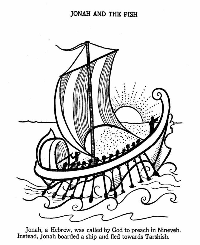 Jonah Bible Story Colouring Page Ocean Theme Pinterest