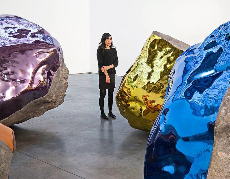 reflective boulder installation