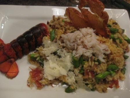 Asparagus and Mushroom Risotto with Lobster & Proscuitto Recipe