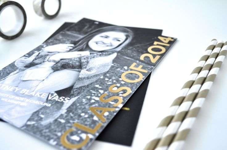 We love the metallic look of this foil pressed Tiny Prints graduation announcement! #graduation