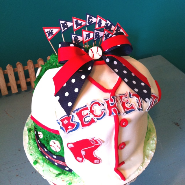 Boston Red Sox -green monster/Jersey -Baby shower cake. Fondant jersey ...