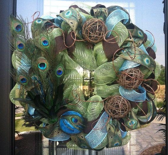 Peacock Feather and Twig Deco Mesh Wreath by DzinerDoorz, Fancy!