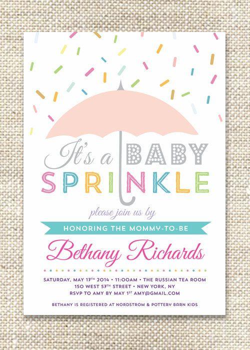 umbrella sprinkles baby shower invitation by citybeedesign