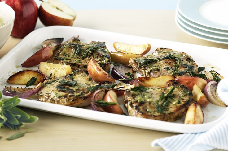 ... glazed pork chops, with apples and onions, serve with mashed potatoes