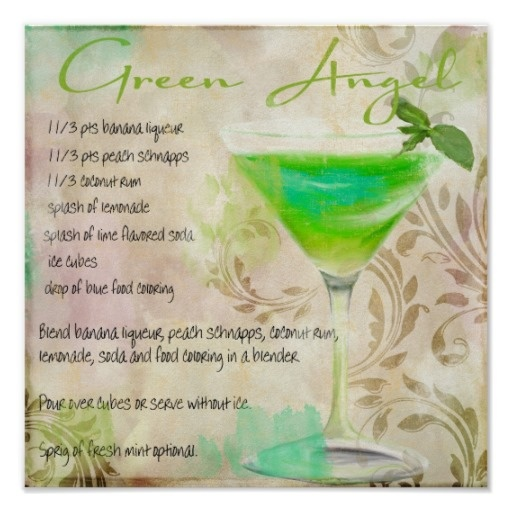 Green angel cocktail recipe cocktails pinterest for Green alcoholic drinks recipes